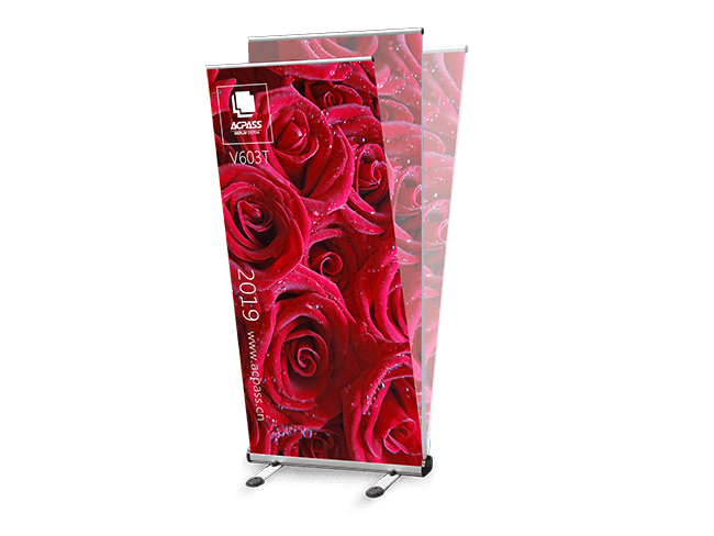 outdoor roller banner stand graphic sways in the wind